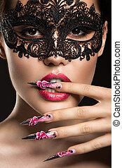 piękny, dziewczyna, w, maska, z, długie paznokcie, i, czuciowy, lips., piękno, face.