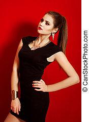 piękny, dziewczyna, w, niejaki, czarny strój