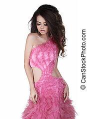 piękny, dziewczyna, w, różowy strój, odizolowany, na białym, tło