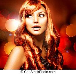 piękny, dziewczyna, z, błyszczący, czerwony, kudły, na, zatracony, tło