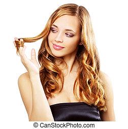 piękny, dziewczyna, z, długi, falisty włos, odizolowany, na, niejaki, biały