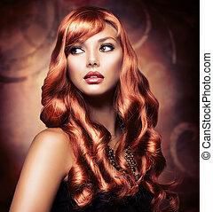 piękny, dziewczyna, z, zdrowy, długi, czerwony włos