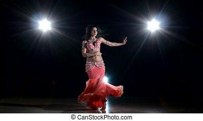 piękny, egzotyczny, dancce, taniec, lekki, wstecz, tancerz, brzuch, czarnoskóry, dziewczyna