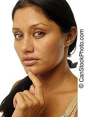 piękny, egzotyczny, portret kobiety
