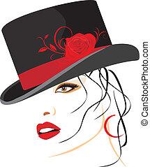 piękny, elegancki, kobieta, kapelusz