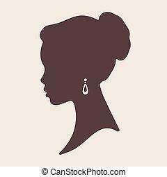 piękny, elegancki, kobieta, sylwetka, afrykanin
