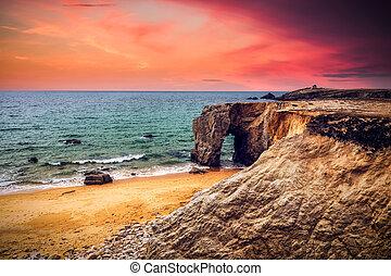 piękny, europa, kamień, kasownik, popisowy, arche, od, brittany, francja, sławny, coastline, (bretagne), urwiska, łuk, port, blanc