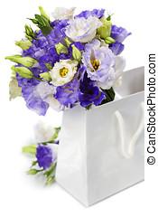 piękny, eustoma, kwiaty, bukiet