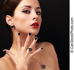 piękny, fason, biżuteria, fingernail, makijaż, przybory, ...