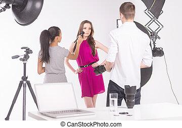 piękny, fason, fotografia, młody, przedstawianie, samica, studio, wzór, studio.