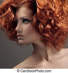piękny, fason, kędzierzawy, portrait., hair., woman.
