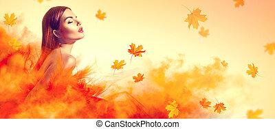 piękny, fason, kobieta, w, jesień, żółty strój, z, padające listowie, przedstawianie, w, studio