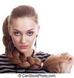 piękny, fason, kobieta, z, piękny, galon, włosy, odizolowany