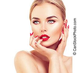 piękny, fason modelują, kobieta, z, blond włos, czerwona kredka, i, paznokcie