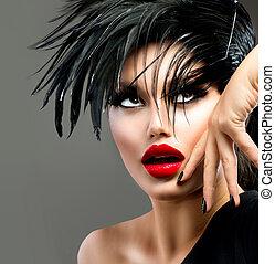 piękny, fason, sztuka, hairstyle., punk, girl., portret, wzór