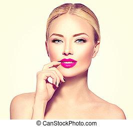piękny, fason, włosy, blond, wzór, dziewczyna