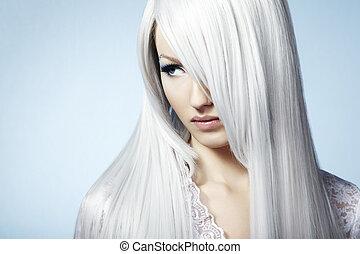piękny, fason, zima, młody, woman., portret, makeu, blondynka