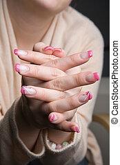 piękny, fingernails, manicured