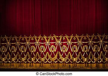 piękny, firanki, teatr, domowy, dramatyczny, oświetlenie, rusztowanie