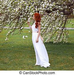 piękny, flowering, kobieta, park