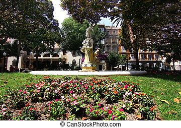 piękny, fontanna, w, ogród, pełny, od, kwiaty