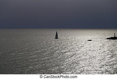 piękny, fotografia, krajobraz, morze
