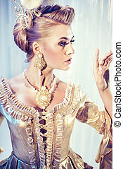 piękny, fotografia, styl, fason, blondynka