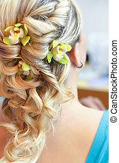 piękny, fryzura, -, ślub, tylny prospekt