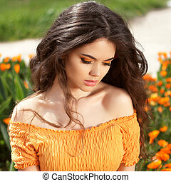 piękny, fryzura, brunetka, piękno, zdrowy, hair., długi, girl., portrait., outdoors, wzór, woman.