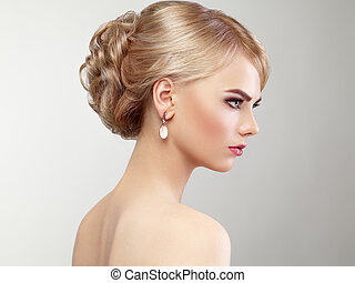 piękny, fryzura, kobieta, elegancki, portret, czuciowy