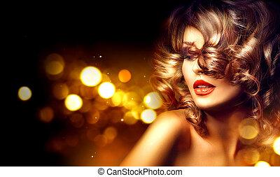 piękny, fryzura, kobieta, kędzierzawy, piękno, na, makijaż, ciemne tło, święto