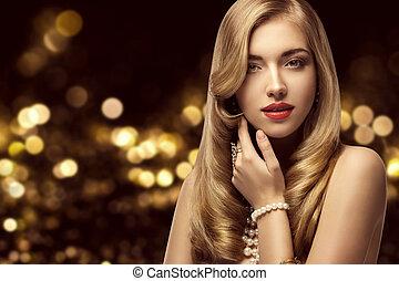 piękny, fryzura, kobieta, piękno, makijaż, kudły, elegancki, fason, portret, wzór, dziewczyna