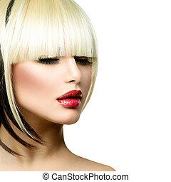 piękny, fryzura, kobieta, skraj, fryzura, krótki, hair., ...