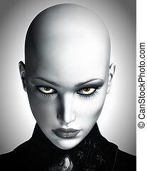 piękny, futurystyczny, kobieta, ilustracja, łysy