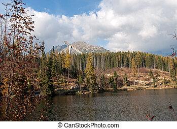 piękny, góra, natura, pleso, -, scena, jezioro, slovakia, tatra, strbske