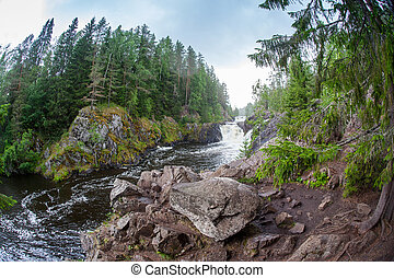 piękny, góra, rzeka, las