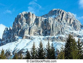 piękny, góra, wielki, delle, zima, tyrol, dolomity, dolomity...
