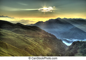 piękny, góra, wschód słońca