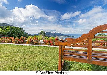 piękny, górki, drewniany, niebo, ława, morze, opróżniać, prospekt