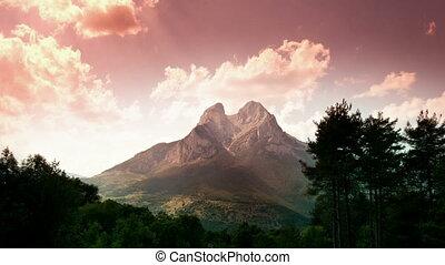 piękny, górski krajobraz, forca, timelapse, pedra, catalunya...