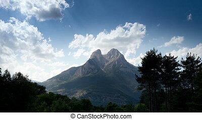 piękny, górski krajobraz, forca, timelapse, pedra, catalunya, hiszpania