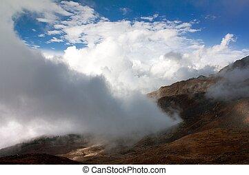 piękny, góry, chmura