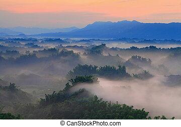 piękny, góry, mgła