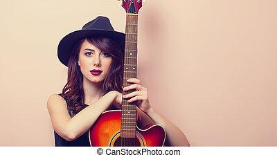 piękny, gitara, kobieta, młody, portret