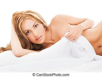 piękny, goła kobieta, łóżko