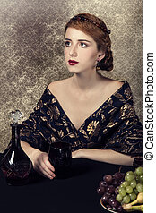 piękny, grapes., kobiety, bogaty, portret