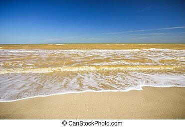 piękny, grudkowaty, seascape., nature., złamany, sea., water., skład