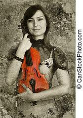 piękny, grunge, tło, wiolinista, samica, skrzypce, interpretacja