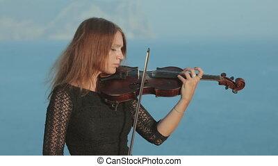 piękny, gry, maswerk, wiolinista, morze, skała, strój