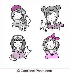 piękny, hats., dziewczyny